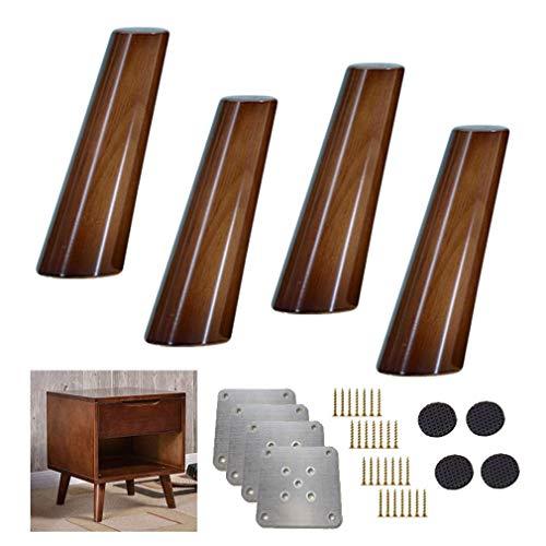 Yuany 4X massief houten keukenmeubelen benen, 80 & deg; schuine kegel sofa voeten, walnoot kleur tafelpoot vervanging voeten, voor stoel recliner salontafel commode sideboard, 8-70 cm optioneel (15 cm)