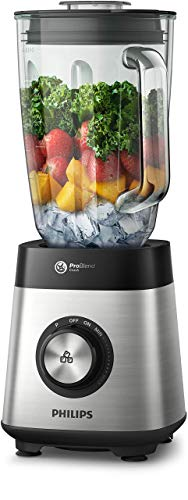 Philips Multifunktions-Standmixer Serie 5000 HR3571/90, 1000 W, ProBlend Crush Technologie mit 6 Klingen, variable Geschwindigkeit + Pulse, Kapazität 2 l, Glasbecher, Klinge aus Edelstahl