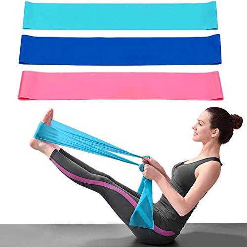 DIWUJI 3 Piezas Bandas Elásticas Fitness, 1.5M Bandas Elásticas Resistencia Ejercicio Set con 3 Niveles de Resistencia para Yoga, Pilates, Crossfit, Estiramiento de Fuerza