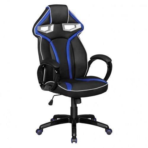 Amstyle GameStar Chair en Cuir synthétique Noir/Bleu