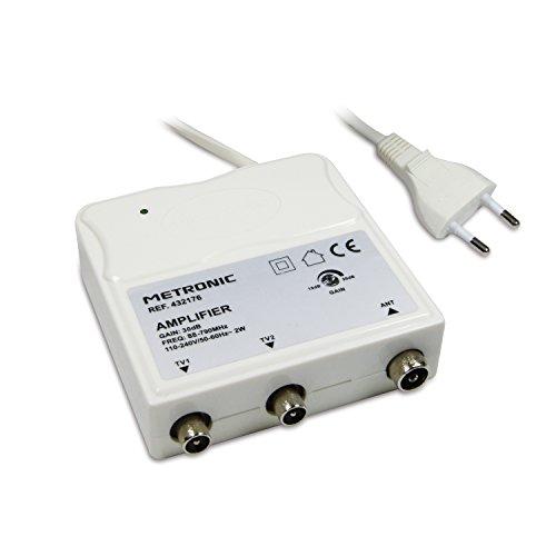 Metronic 432176 Amplificateur dintérieur universel avec réglage de gain FM-UHF, gain réglable 30 dB maximum, protection 4G, prises TV Ø9,52 mm, blanc