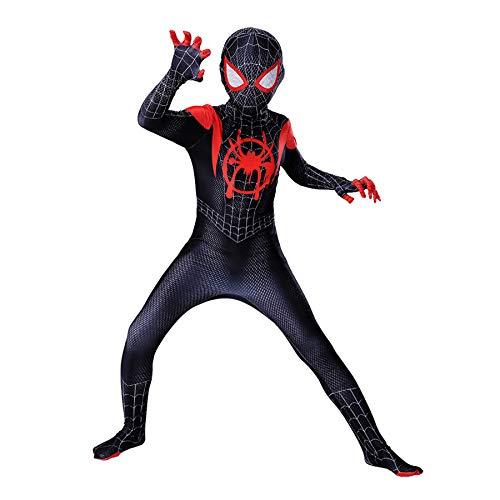 LGGQDC Impresión 3D Disfraz de Spiderman niño Superhéroe Disfraz Spiderman Body Costume Miles Morales Mono de máscaras los Vengadores Traje de Disfraz de Fiesta Navidad Halloween Masquerade