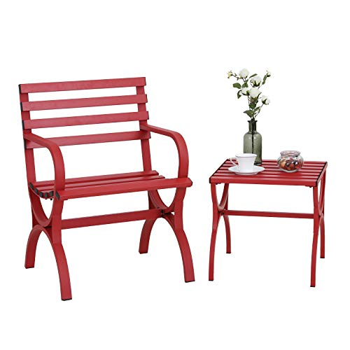 Sophia & William Outdoor Garden Park Bench Patio Metal Single Chair with Small Side End Table, Steel Frame Furniture with Backrest and Armrests for Porch Yard Lawn Deck, Red