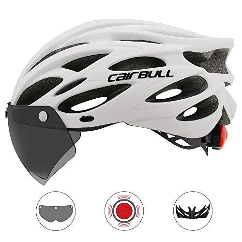 GMtes 2020 Fahrradhelm mit Schutzbrille/Sonnenblende/Rücklicht, Straßen Mountainbike Fahrrad Sport Sicherheitshelm Reiten Herren Damen Ultraleicht Integriert Geformt,A