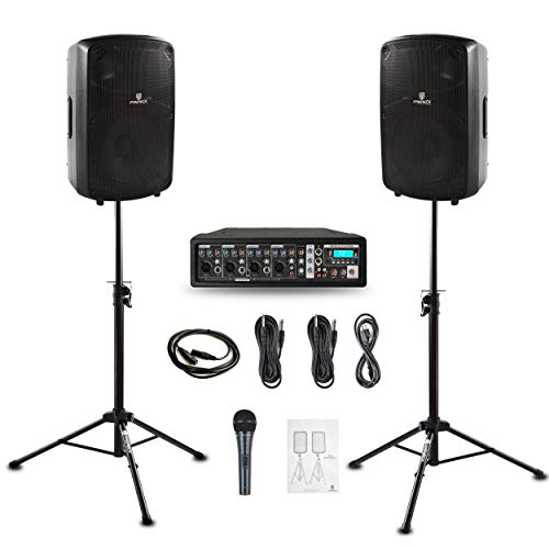 PRORECK MX10 1600W 6-channel Powered Bluetooth Mixer with 10inch Passive Speakers PA System Mixer/Amp/Stands/Mic