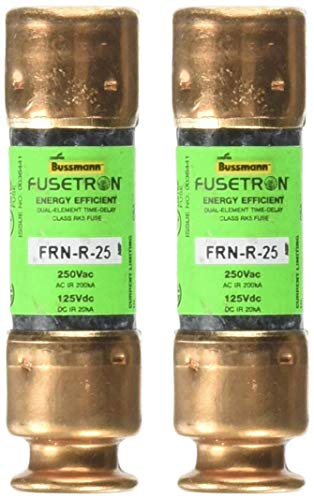 Bussmann BP/FRN-R-25 25 Amp Fusetron Dual Element Time-Delay Current Limiting Fuse Class RK5, 250V UL Listed, 2-Pack