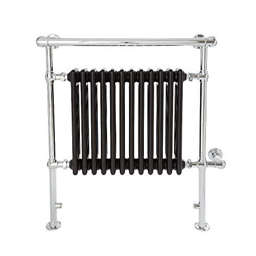 Hudson Reed Elizabeth Elektrische Handdoekradiator Met Verwarmingelement Chroom en Zwart 93cm x 79cm x 23cm