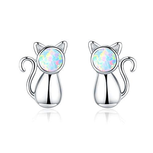 Pendientes de gato de plata de ley 925 con ópalo, bonitos pendientes para niños, regalo para niñas y mujeres