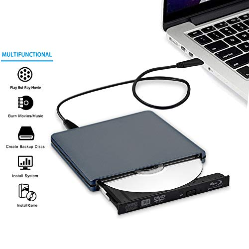 USB C Type C USB 3.0 External 3D HD Blue ray Player for MacBook pro USB C Blue ray Reader Combo DVD Burner Drive for MacBook Pro MacBook Air iMac All Laptop and Desktop pc