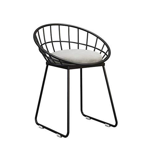 Family History Chaise de Maquillage Fille, Style Nordique Art de Fer Chaise de Salon Petit Tabouret de Dressing Chaise de café Décoration Tabouret à Ongles Coussin en Tissu Chaise en métal 45CM,F