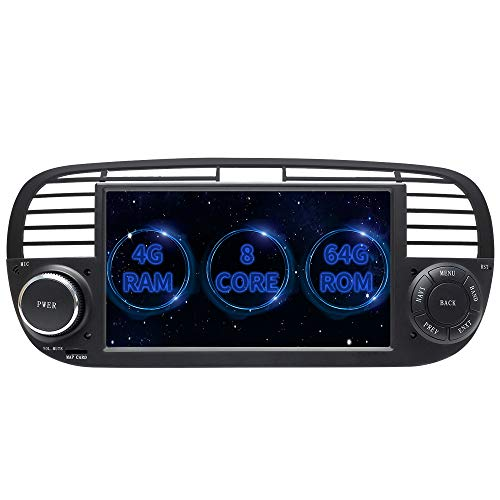 ZLTOOPAI Autoradio Android Stereo, per Fiat 500 2007-2016 Android 10.0 Octa Core 4G RAM 64G Rom 7 Pollici Capacitivo HD Multi-Touch Screen Autoradio GPS Stereo con Telecamera Posteriore Gratuita