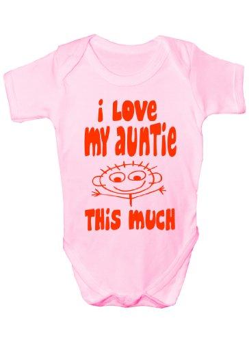 I Love My Auntie This Much Cadeau humoristique Body bébé fille/garçon Sans manches pour bébés - Rose -