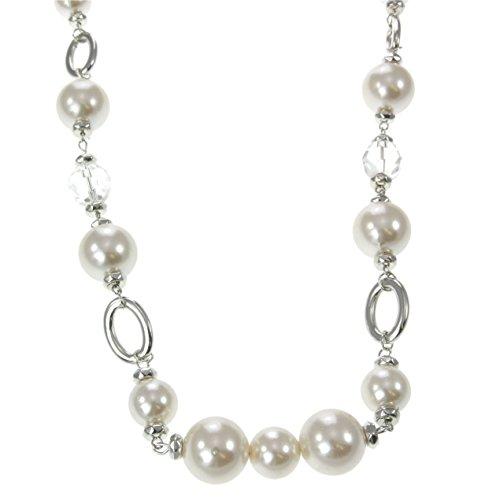 behave Weiße Perlenkette Frauen - Silberfarbene Kettenkette mit Perlen - Antike Perlenkette für Frauen