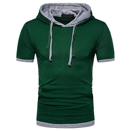 Streetwear Hombre Ajustada Verano Cordones Y Bolsillo Elástico Hombre T-Shirt Moderna Manga Corta Hombre Shirt Cómoda Tendencia Moda Playa Hombre Sudadera con Capucha A-Green XL