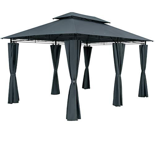 Casaria Cenador Tropas Antracita 4x3m Pabellón con Protección UV 50+ Repelente al Agua Carpa de jardín