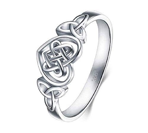 Lzz 925 Sterling Silver Ring Celtic Knot Cross high Polished Stackable Ring Love Knot Wedding Commitment Ring Size 6-10 (US Code 7)