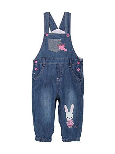 Baby Mädchen Jeans Latzhose Strampler Overall Weiche Baumwolle Denim Hose Dünn für Frühling Sommer Cartoon Pink Häschen Größe 80/86