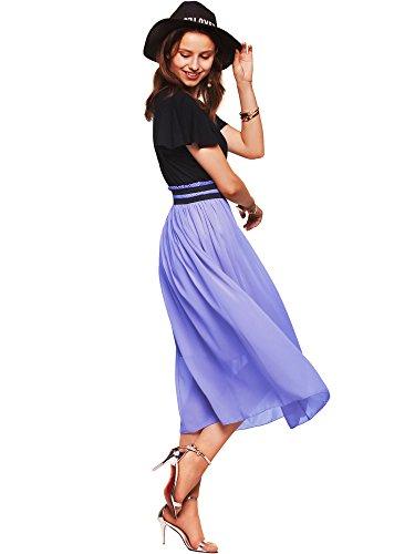 Amoretu Short Sleeve Chiffon Midi Summer Dress for Women Plus Size Lavender XL