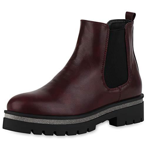 SCARPE VITA Damen Stiefeletten Plateau Boots Leicht Gefütterte Booties Glitzer Schuhe Leder-Optik Plateauschuhe 186637 Burgund Schwarz 37