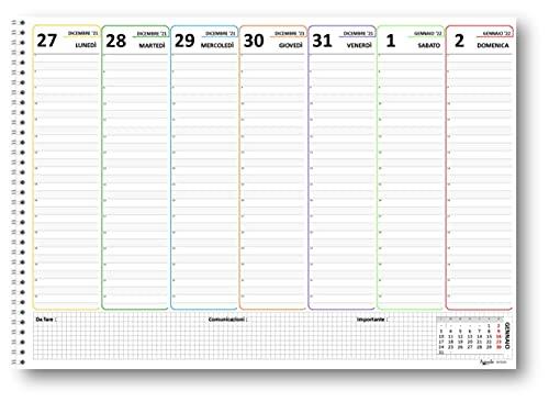 Planning 30x42 a colori SPIRALATO da tavolo A3 (55 fogli da 90 gr) agenda da tavolo senza data - 2022