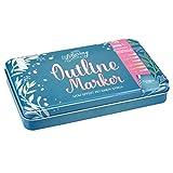 Outline Marker in hochwertigem Metall-Etui: Metallic-Effekt und farbige Outline mit nur einem Strich. 6 Outline Marker mit verschiedenen Konturfarben ... Metall-Etui ca. 19,5 x 12 x 3 cm