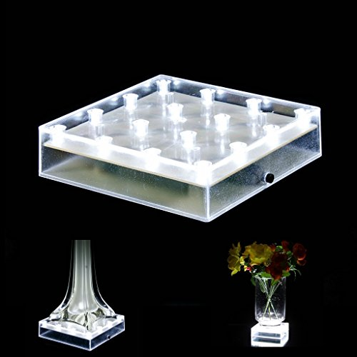 Acmee 5 inch Acrylic Square LED Vase Base Ligtht,Plate Light with 16 LEDs for Eiffel Tower Vase, Table Centerpiece Decoration,LED Base,Battery Operated/USB Cable 2 Functions(White Light)