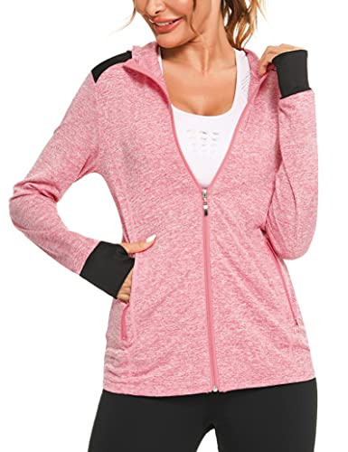 Fipput Sportjacke Damen Kapuzenjacke Slim Fit Laufjacke Langarm Atmungsaktive mit Reißverschluss und Daumenloch voll Für Yoga Fitness