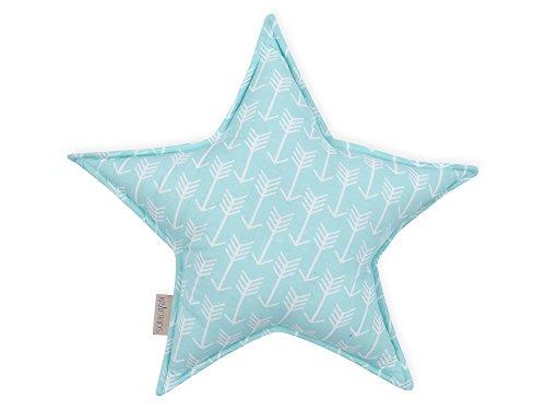 KraftKids Coussin décoratif en forme d'étoile avec flèches blanches sur la menthe