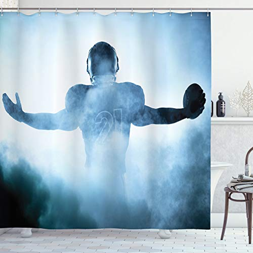 Ambesonne Sport Shower Curtain, Heroic Shaped Rugby Player Silhouette Shadow Standing in Fog Playground Global Sports Photo, Cloth Fabric Bathroom Decor Set with Hooks, 84