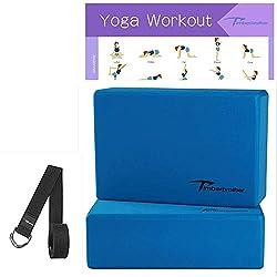 Timberbrother Lot de 2 Blocs de Yoga (Bleu, 23 x 15 x 7.6cm (2pc))