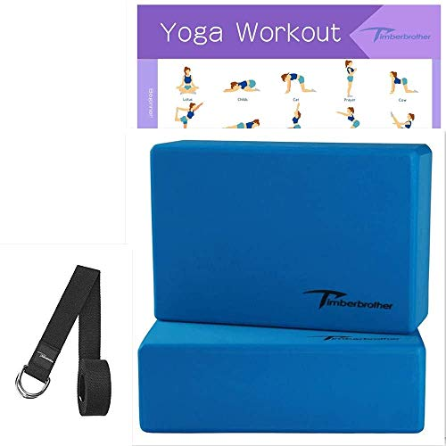 """Timberbrother 2 Pack Yoga Blocks and 1 Yoga Strap with Yoga Workout Poster 16.5""""x 22.4"""" - Choose Your Color & Size (Blue, 23 x 15 x 10.1cm (2pc))"""