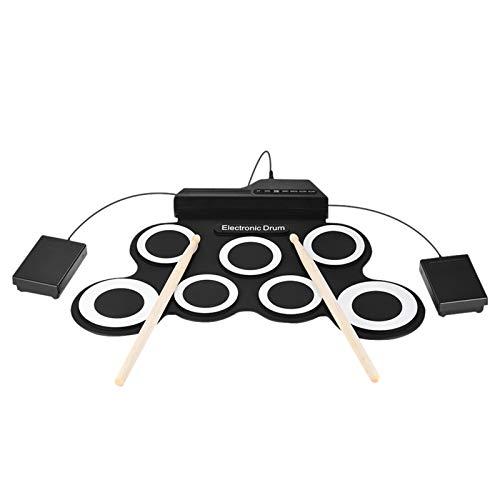 Queenser Compact Size Portable Digital Roll Up Kit de bateria Kit 7 Silicon Drum Pads USB Alimentado com baquetas Pedais 3.5mm Cabo de áudio para principiantes de prática Kids