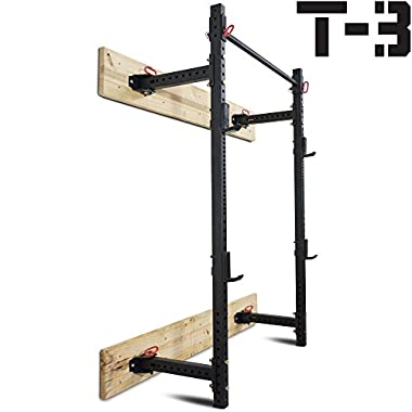 Titan Fitness T-3 Series Fold Back Power Rack 21.5  Deep Wall Mounted