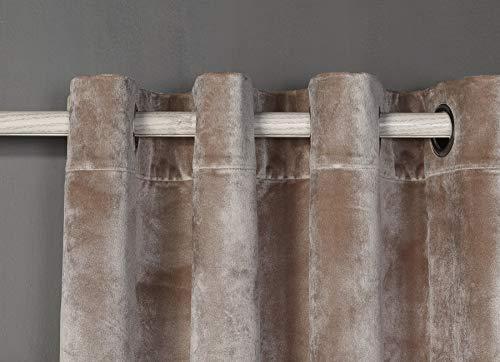 PimpamTex – Blickdichter Vorhang Wärmedämmender Samt Touch, 260x140 cm, mit 8 Ösen für Wohnzimmer, Schlafzimmer und Räume, blickdichte Vorhänge Modell Samt (Sandfarben)