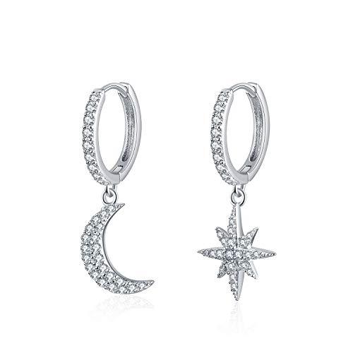Silver Earrings for Women, 925 Sterling Silver Dangle Drop Earings with AAA Cubic Zirconia, Jewellery Gifts Star Moon hoop Earings For Womens Girls Mum Daughter (star moon)