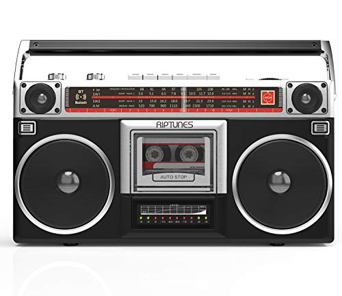Riptunes Boombox Radio Cassette Player Recorder, AM/FM -SW1/SW2 Radio, Wireless Streaming, USB/Micro SD Slots, Aux in, Headphone Jack, Convert Cassettes to USB/SD, Classic 80s Style Retro, Black