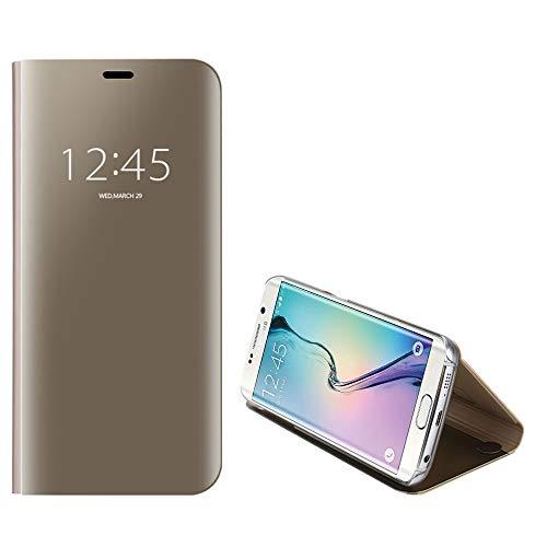 Anfire-ES Funda de Teléfono para Samsung Galaxy S6 Edge, Flip Smart Carcasa Case, Auto Sueño/Estela Soporte Plegable, Clear View Premium Cover, Transparente Bumper Tapa Funda - Dorado