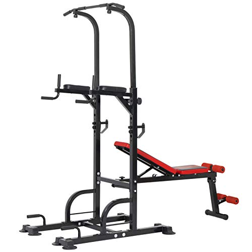 ER KANG Power Tower Dip Station, 800lbs Weight Capacity Workout Station with Adjustable Weight/Sit-Up Bench, Dip Stands, Pull Up Chin Up Tower for Home Gym, Office, Strength Training