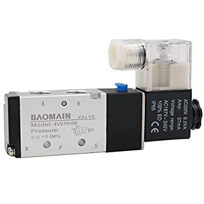 """Baomain Pneumatic Air Control Solenoid Valve 4V210-08 AC220V 5 Way 2 Position PT1/4"""" Internally Piloted Acting Type Single Electrical Control from AirTac"""