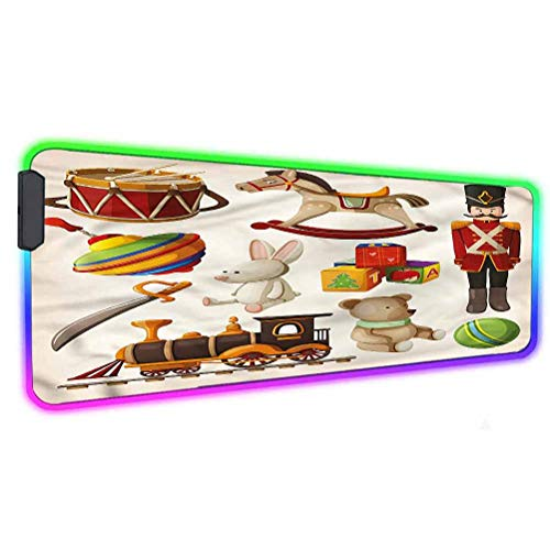 Kids RGB Gaming Mouse Pad Mat,Wooden Toy Rocking Horse Drum Led Mousepad with Non-Slip Rubber Base,31.5'X 11.8',Soft Computer Keyboard Mouse Pad for MacBook, PC, Laptop, Desk