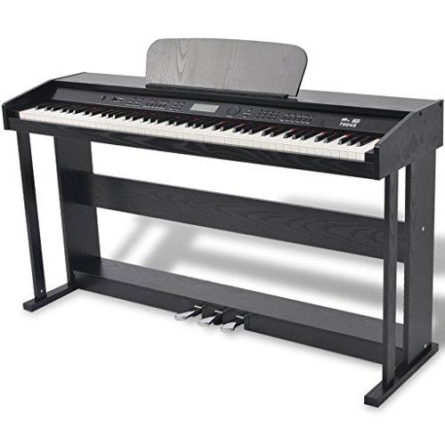 Festnight 88-Taste Digitales Klavier Piano mit 3 Pedalen LCD-Display 134 x 40 x 75 cm Ideal Geschenk Schwarz