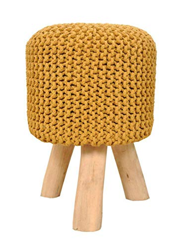 Sitzhocker Strick-Hocker Pouf Schemel mit Holzfüßen Ø 35 cm Höhe 45 cm Farbe zitronengelb