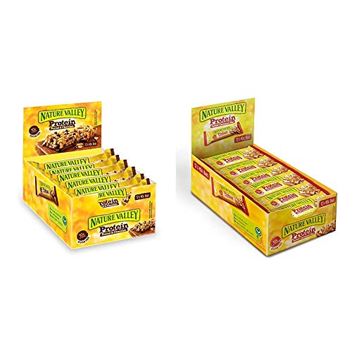 Nature Valley Proteinriegel Set – Peanut & Chocolate + Salted Caramel Nut, je 1 x 12er Pack Proteinriegel (2 x 12 x 40g)