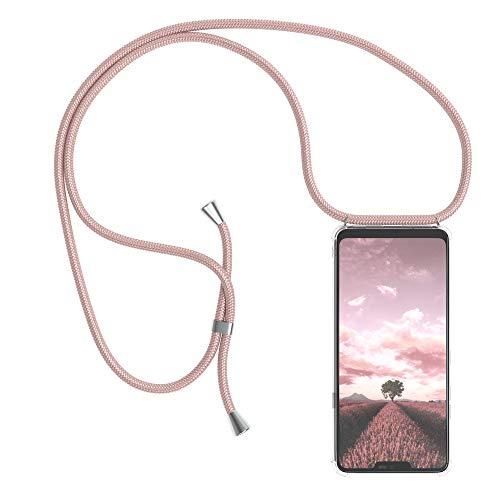 EAZY CASE Handykette kompatibel mit LG G7 ThinQ Handyhülle mit Umhängeband, Handykordel mit Schutzhülle, Silikonhülle, Hülle mit Band, Stylische Kette mit Hülle für Smartphone, Rosé-Gold