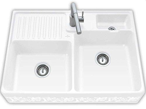 Villeroy und Boch Spülstein Doppelbecken White Pearl Keramik-S