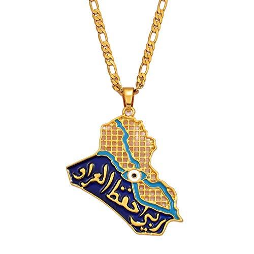 DSHT Colgante de mapa de Irak, collar para mujeres y hombres, joyería musulmana iraquí, collar con ojos azules dorados, Islam #011101