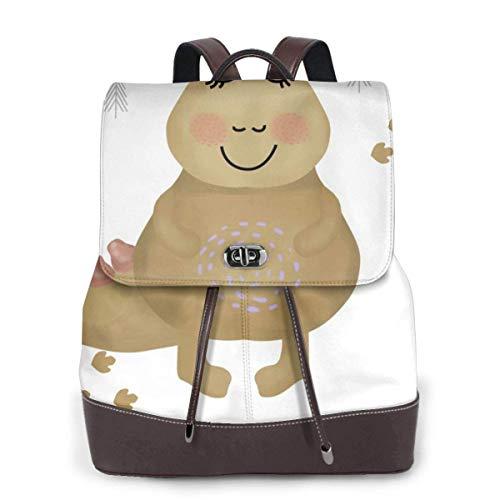 Yuanmeiju Womens Rucksack Backpack Funny Cartoon Penguin On Skates Shoulder Schoolbag Leather Laptop Bag Girls