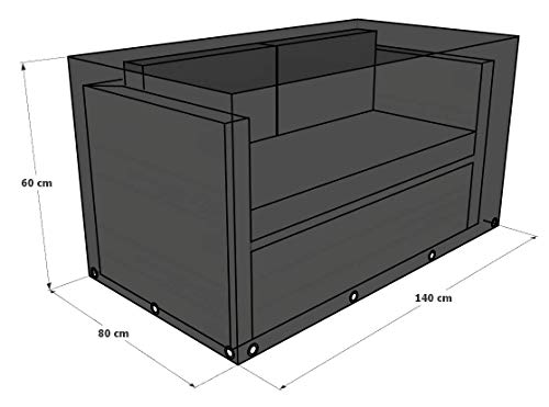 GREEN CLUB Housse De Protection pour canapé 2 Places Haute Qualité Polyester L 140 x l 80 x h 60 cm Couleur Anthracite