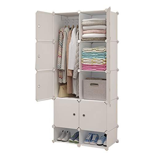 wardrobe Gran Armoire 2-colgante extraíble almacenamiento zapatos de plástico dividido cuadrícula ropa dormitorio casa alquiler habitación dormitorio dormitorio 75x47x165cm FANJIANI