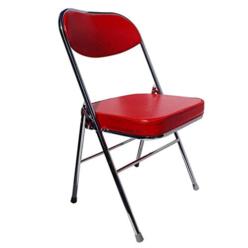 XYSQWZ Folding Home Computer Chair Leather Cushion Office Chair Simple Back Meeting Chair Training Chair Student Chair Dining Chair Very Practical Color Red